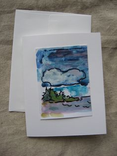 Original Art - Hand Painted Greeting Card - Maine Seascape - Unique by theRandoMshoE on Etsy