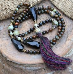Jade Mala necklace decorated with large faceted by look4treasures, $104.95