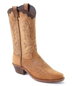 Another great find on #zulily! Tan Wagon Toe Leather Western Boot #zulilyfinds
