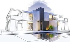 Stock Image: Buildings/Landmarks rendering of a luxurious villa contrasting with a technical draft part Architecture Panel, School Architecture, Interior Architecture, Modern Villa Design, Portfolio Layout, Interior Styling, House Design, Abcs, 3d Rendering