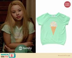 Mariana's green ice cream tee on The Fosters.  Outfit Details: http://wornontv.net/33864/ #TheFosters
