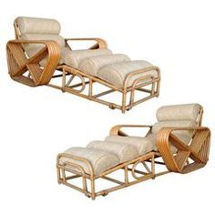 Rare Pair of Paul Frankl Rattan Chaise Lounge Chairs with Square Pretzel Arms