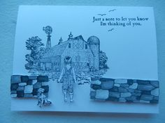 I used SU Heartland stamp set for this black and white card.