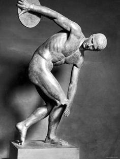 Greek sculpture depicting athlete.