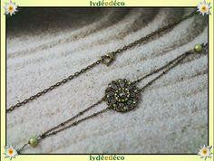 Headband retro estampe et perles vert marron bronze : Accessoires coiffure par lydeedeco