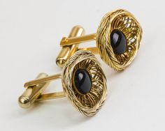 Vintage Cufflinks  Black Jewel in Gold Wire Mesh by CuffsandClips, $18.60