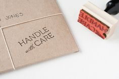 Handle With Care  Rubber Stamp with Handle by AnastasiaMarieShop via Etsy