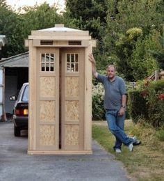 Tardis Garden shed for geeks like me nicholascovey // or just a play Tardis haha. I'll have it outside but when you open the door it will secretly lead into the house! Oh boy I want one!!