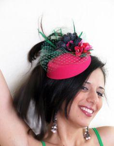 Pink fascinator fuchsia raspberry  wedding hat by FascinatorsFirst, $46.00