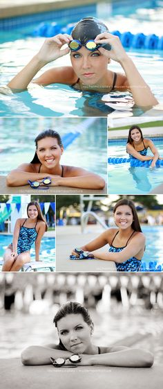 Swim shots for senior girl in pool