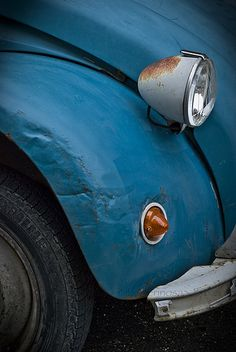 When I was very young my parents had a blue VW Bug they named Blue Crinkle because it had so many dings and dents  This makes me think of that... :-)