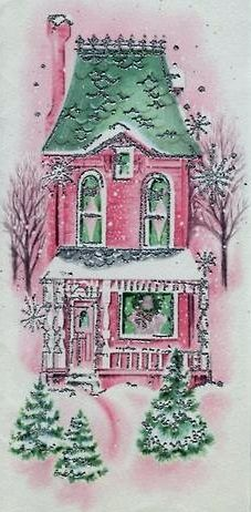 Coco'c Collection: Vintage Christmas Card Pink Green House in Snow antique/ vintage Christmas post card / image collection printable Shabby Chic Christmas, Old Christmas, Old Fashioned Christmas, Victorian Christmas, Retro Christmas, Christmas Greetings, Christmas Glitter, Handmade Christmas, Images Vintage
