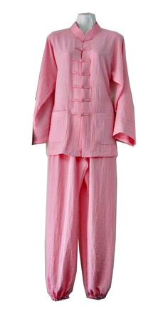Asia-Sale Best Tai Chi, Kung Fu Clothing & Equipment Shop - Light Pink Hemp and Linen Wudang Tai Chi Uniform with Open Sleeves for Women