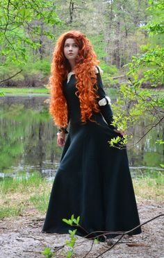 "Merida cosplay by Angela ""One of my major Merida cosplay pet peeves is people using broadcloth or very lightweight, swishy fabrics for Merida's dress. Or even worse, materials with a sheen and glitter! We are supposed to be in 10th century Scotland, and a horse-riding-archery-master-tom-boy-all-around-awesome-strong-female-character, we would not put up with that sh*t."""