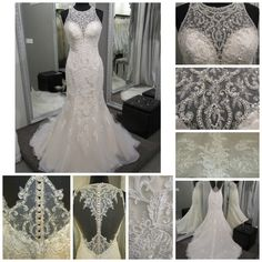 This wedding dress has it all.  Beautiful beaded neckline, amazing illusion plunge back, beautiful lace and clear sequins for just the right amount of sparkle.