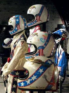 Evel Knievel's Actual Jump Helmets. Not even the Dream Team wore red, white and blue as well as this cat.
