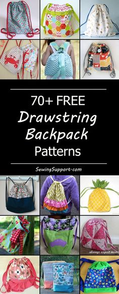 Lots of free drawstring backpack tutorials, sewing patterns, and diy projects. Many cute, fun, easy, simple styles and designs to sew for kids, toddler, teen, girl, boy, and back to school. How to make a drawstring backpack.