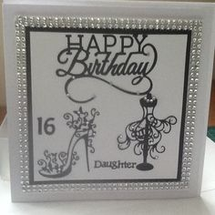 Birthday Card using Tattered Lace Dies. Embossed Cards, I Card, Birthday Cards, Frame, Happy, Shoes, Dresses, Cards, Bday Cards