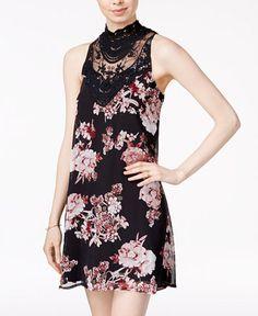 7f3be12c1 City Triangles Juniors' Printed Lace Shift Dress & Reviews - Dresses -  Juniors - Macy's