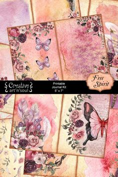 I've created this journal in soft watercolors with beautiful imagery to inspire your spirit to run free. This printable journal can be combined with the Free Spirit JournalNotes to add writing pages to your journal. Journal Cards, Junk Journal, Journal Ideas, Creative Journal, Creative Art, Printable Art, Free Printables, Scrapbook Paper, Scrapbooking