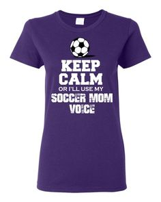 Keep Calm or I'll use my Soccer Mom Voice custom t shirt White and black design on Etsy, $18.00