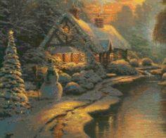 Vintage Christmas Cottage Sunset Cross Stitch pattern PDF  by PenumbraCharts | Etsy