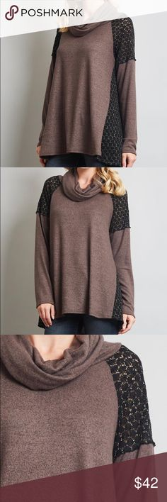 Basil The Basil is a long crochet sleeve and shoulder top with shimmer in the black yarn and a mocha body.  With a cowl neck, - she fits loose and long! Flowers and Gray Sweaters Cowl & Turtlenecks