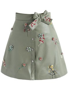 Beads on Floret Faux Leather A-line Skirt in Khaki - New Arrivals - Retro, Indie and Unique Fashion