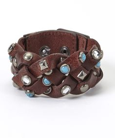 cute woven bracelet in brown leather and turquoise