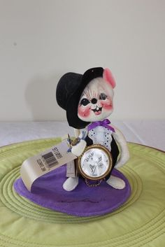 """Annalee Dolls 7"""" Celebrate 2000 Mouse w/ watch, Signed base, w/tags, 1999 USA #Annalee #Dolls"""
