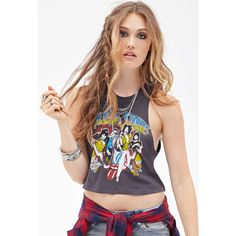 Forever 21 Women's  Rolling Stones Muscle Tee ($9.99) ❤ liked on Polyvore featuring tops, bandeau tops, forever 21, graphic tank tops, graphic tops and forever 21 tank tops