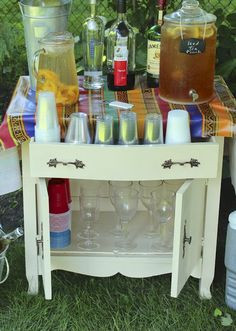 A Washstand Turned Beverage Station - New House New Home New Life