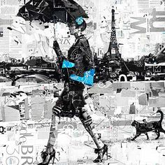 Derek Gores, Cleverness Du Chat, 2012 / 2013 © www.lumas.de/ #Lumasblau,  Collage,  Eiffelturm,  Frau,  Frauen,  High Heel,  High Heels,  Katze,  Katzen,  Konzept,  Kreation,  Kupplung,  laufen,  mixed media,  Paris,  Regenschirm,  Regenschirme,  Schwarz-Weiß