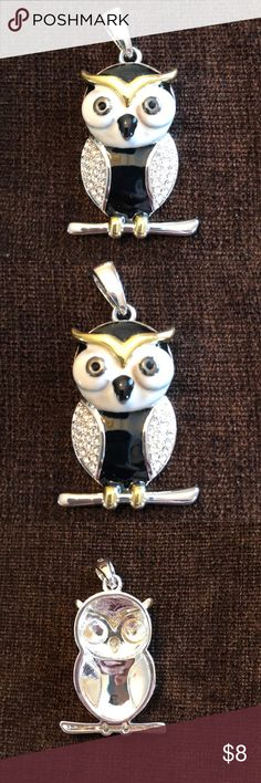 Beautiful owl pendant Beautiful owl in silver, white and black. Perfect for all owl lovers - very trendy! Chain not included. Never worn. Bundle and save! Jewelry