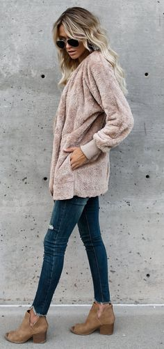 Cozy, comfy blush cardigan with distressed denim jeans.