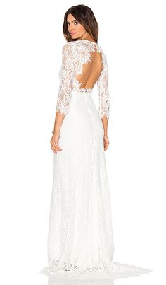 Alexis Akira Lace Gown in White | REVOLVE $759