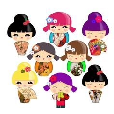 clipart to buy. kokeshi dolls. Inspiration