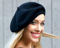 c95c1afebd1 Wool Beret Hat Women Black Wool Beanie Fall by KatarinaHats Turban Hat