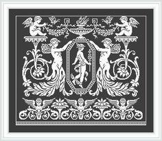 Cross stitch pattern-Cherubim siren Hermes ornament-Le