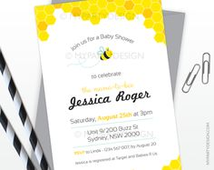 Bee Baby Shower PRINTABLE Invitation - My Party Design