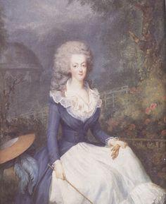 Marie Antoinette wearing REDINGOTE GOWN, Antoine Vestier. 1778