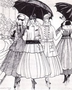 """""""It's still raining"""" ~ fashion plate from La Gazette du Bon Ton, 1915, showing (left to right) tailored suits by Paquin, Lanvin, and Doeuillet and a coat by Paquin."""