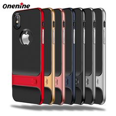 Onenine Phone Bag Case for iPhone X 10 Case Silicon Cover Luxury Kickstand Hybrid 360 Protective PC TPU 3D Funda Capa Back Cover