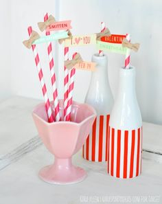 Valentine's Day straws / straw toppers via Kara Allen | Kara's Party Ideas | KarasPartyIdeas.com for Target and American Crafts #OneSpotValentine