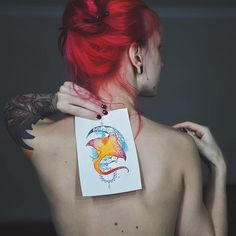 🌙🐟 #tattoo #tat #tattoosketch #shokerfish #redhead #redhair #redhairedgirl #tattooed #vscocam #watercolor #linework