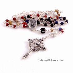 St Michael Unbreakable Multi-Stone Rosary Beads w Italian Nail Crucifix www.UnbreakableRosaries.com