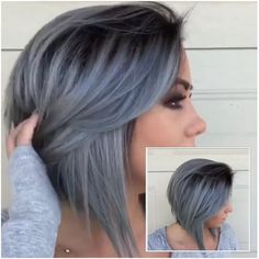 Gray tones - All For Hair Color Balayage Grey Ombre Hair, Lilac Hair, Blue Grey Hair, Gray Hair Highlights, Natural Hair Styles, Short Hair Styles, Real Hair Extensions, Hair Color And Cut, Pixie Hair Color