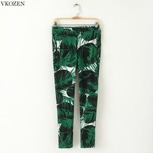 Euro Style New Spring Fashion Women's Skinny Ankle-Length Pants Unique Green Ink Print Zipper Trousers Lady Casual Pencil Pants(China (Mainland))