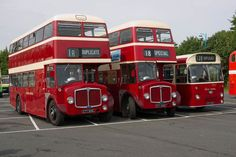 Line up of ex Devon General vehicles at the rally site. CTT 513C a 1965 AEC Regent V/Park Royal, CTT 518C a 1965 AEC Regent V/Willowbrook & CTT 23C a 1965 AEC Reliance/Park Royal.
