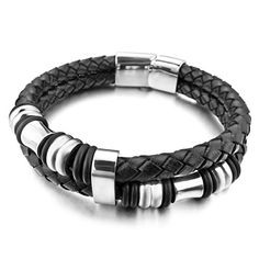 Loveshine Jewelry Leather Mens Bracelet Stainless Steel Charms Clasp, Black Silver Loveshine http://www.amazon.com/dp/B01ALDG24I/ref=cm_sw_r_pi_dp_5b8Lwb129VC24